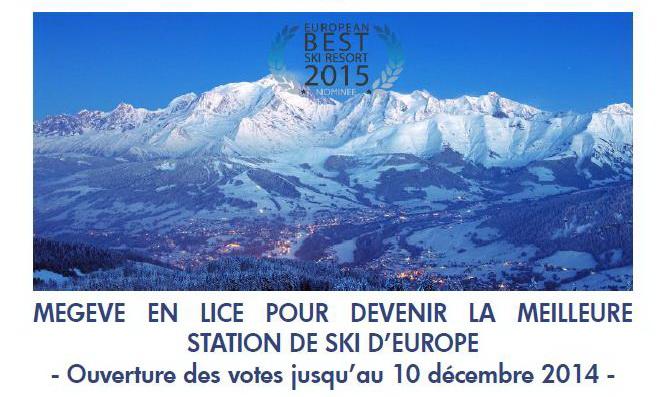Meilleure station de ski d'Europe. Votez pour Megève !