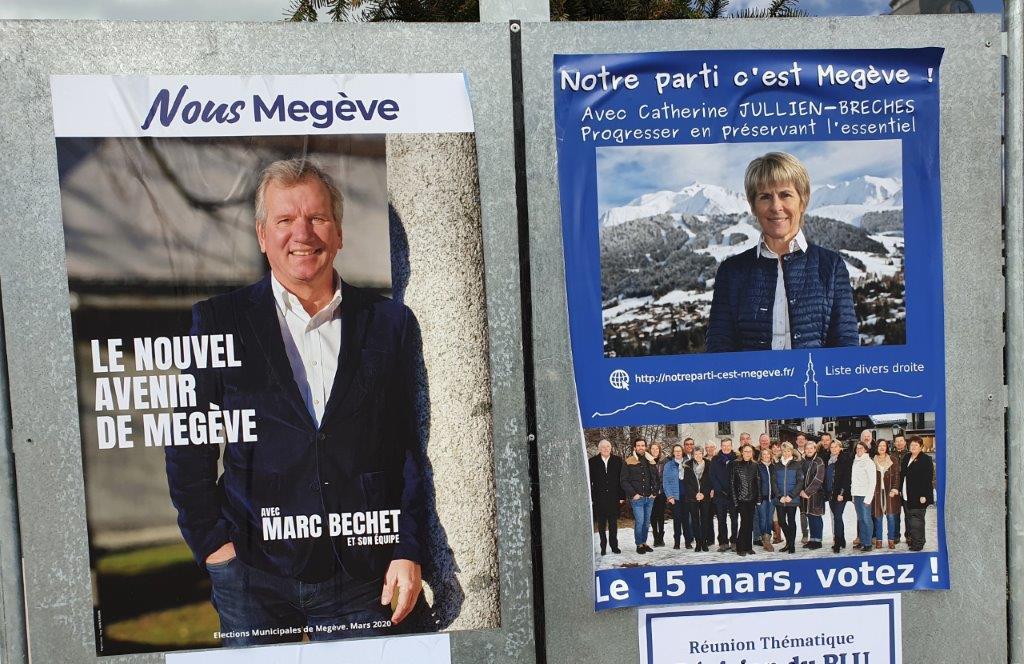 Affiches des Municipales Megève 2020. Le beau gosse et la femme de tête